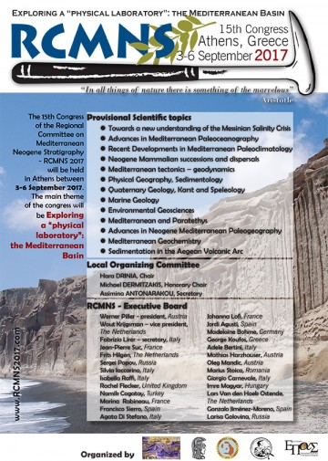 15th Congress of the Regional Committee on Mediterranean Neogene Stratigraphy–RCMNS 2017